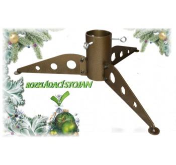 Stojan na vánoční stromek kovový rozkládací 2 zlatý (500x500x125)
