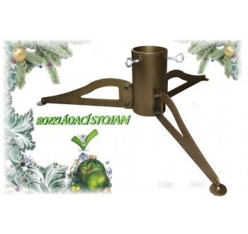 Stojan na vánoční stromek kovový rozkládací zlatý (500x500x125)