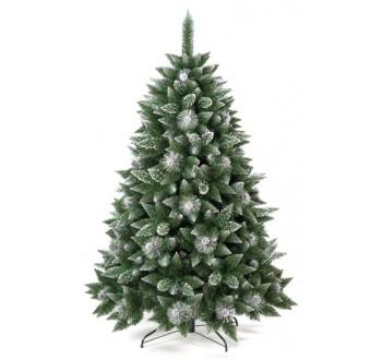 Umělá vánoční borovice s šiškami - stříbrná 220 cm (DOPRAVA ZDARMA)