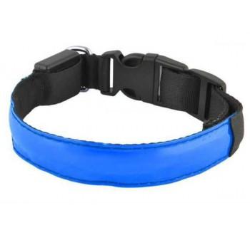 Svítící obojek pro psy, pásek pro chodce a cyklisty, modrý vel.S
