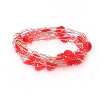 Řetěz vánoční 30 LED, 3m, 3xAA, srdíčka, červená