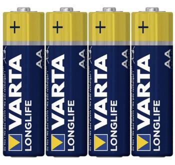 Alkalická baterie VARTA Longlife, typ AA, 14 mm, sada 4 ks