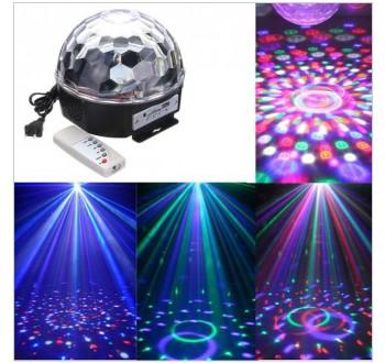 HARMONY LED disko koule 6x3W RGBV USB DMX MP3 s dálkovým ovládáním