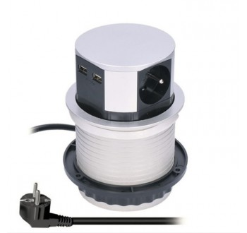 Solight výsuvný blok zásuvek, 3 zásuvky, 2x USB, stříbrný