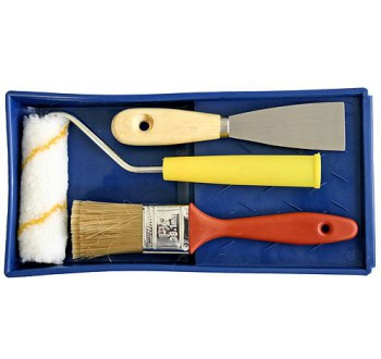 Souprava malířská 4 dílná-váleček, štětec, vana, stěrka