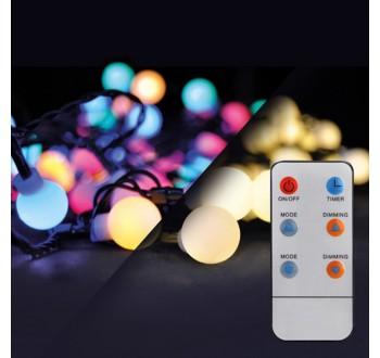 Solight LED 2v1 venkovní vánoční řetěz, koule, dálkový ovladač, 100LED, RGB+bílá