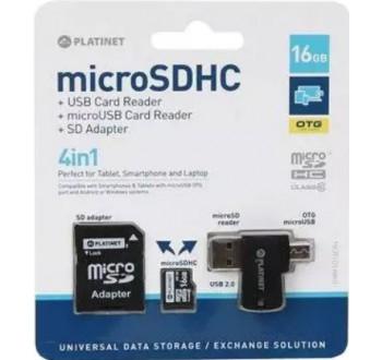 Karta paměťová PLATINET micro SD 16 GB 4v1