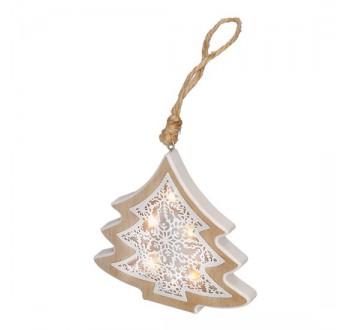 Solight LED vánoční stromek, dřevěný dekor, 6LED, teplá bílá, 2x AAA