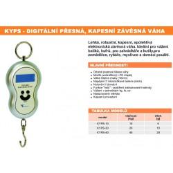 KYPS Jednoduchá tenzometrická kapesní závěsná váha 40 kg