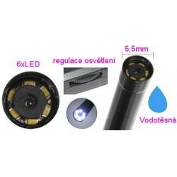 Inspekční kamera 5,5mm / délka 5m vodotěsná s osvětlením - endoskop s USB