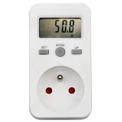 Elektroměr zásuvkový měřič spotřeby s pamětí PM5 - digitální wattmetr do zásuvky zálohování