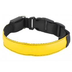 Svítící obojek pro psy, pásek pro chodce a cyklisty, žlutý vel.S