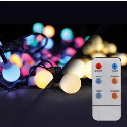 Solight LED 2v1 venkovní vánoční řetěz, koule, dálkový ovladač, 200LED, RGB+bílá