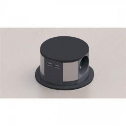 Solight výsuvný blok zásuvek, 3 zásuvky, 2x USB, černý