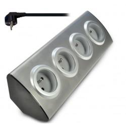 Solight prodlužovací přívod, 4 zásuvky, stříbrný, 1,5m, rohový design