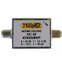 Anténní zesilovač TEROZ 408X, UHF, G22dB, F1,5dB, U99dBµV, F-F