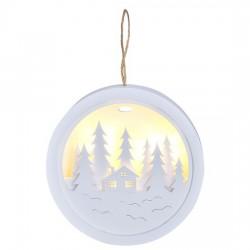 Solight LED dekorace závěsná, les a chatka, bílá, 2x AAA