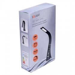 Solight LED stolní lampička s displayem, 6W, 4100K, kůže, černá WO46-B