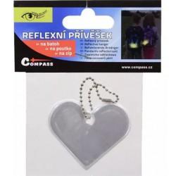 Reflexní přívěšek SRDCE stříbrný COMPASS 01722