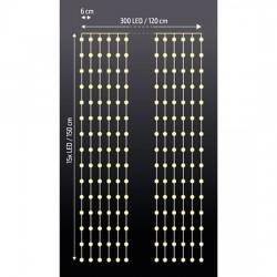 Solight LED vánoční závěs okenní, stříbrný, 300x mini LED, časovač, 8 funkcí