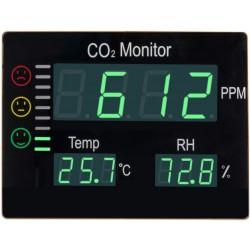 Detektor oxidu uhličitého CO2 s alarmem Hutermann ALARM CO2-2008 s měřením teploty