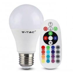 Žárovka LED E27 9W A60 RGB + 3000K V-TAC VT-2229