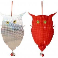 Plašič ptáků - sova - Sada 2ks (stříbrná / červená)